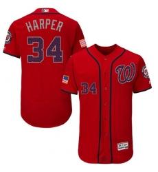 Men's Majestic Washington Nationals #34 Bryce Harper Red Fashion Stars & Stripes Flex Base MLB Jersey