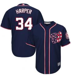 Men's Majestic Washington Nationals #34 Bryce Harper Replica Navy Blue Alternate 2 Cool Base MLB Jersey