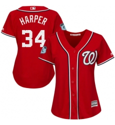 Women's Majestic Washington Nationals #34 Bryce Harper Authentic Scarlet 2017 Spring Training Cool Base MLB Jersey