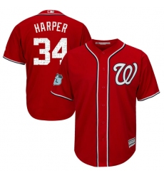 Youth Majestic Washington Nationals #34 Bryce Harper Authentic Scarlet 2017 Spring Training Cool Base MLB Jersey
