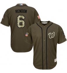 Men's Majestic Washington Nationals #6 Anthony Rendon Authentic Green Salute to Service MLB Jersey