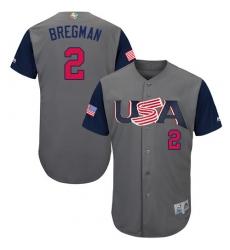Youth USA Baseball Majestic #2 Alex Bregman Gray 2017 World Baseball Classic Authentic Team Jersey