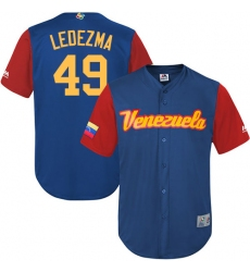Men's Venezuela Baseball Majestic #49 Wil Ledezma Royal Blue 2017 World Baseball Classic Replica Team Jersey
