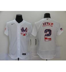 Men's Nike New York Yankees #2 Derek Jeter White 2020 Stars & Stripes 4th of July Jersey