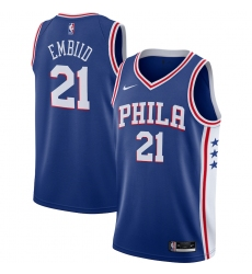 Men's Philadelphia 76ers #21 Joel Embiid Nike Royal 2020-21 Swingman Jersey