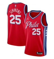 Men's Philadelphia 76ers #25 Ben Simmons Jordan Brand Red 2020-21 Swingman Jersey