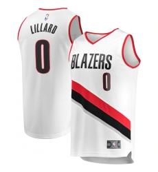 Men's Portland Trail Blazers #0 Damian Lillard Fanatics Branded White 2020-21 Fast Break Replica Jersey