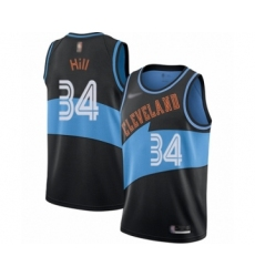 Men's Cleveland Cavaliers #34 Tyrone Hill Authentic Black Hardwood Classics Finished Basketball Jersey