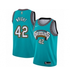 Men's Memphis Grizzlies #42 Lorenzen Wright Authentic Green Hardwood Classic Basketball Jersey