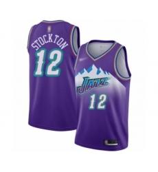 Men's Utah Jazz #12 John Stockton Authentic Purple Hardwood Classics Basketball Jersey