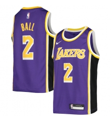 Youth Los Angeles Lakers #2 Lonzo Ball Nike Purple 2020-21 Swingman Jersey