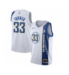 Men's Indiana Pacers #33 Myles Turner Swingman White Basketball Jersey - 2019 20 City Edition