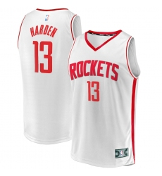 Men's Houston Rockets #13 James Harden Fanatics Branded White 2020-21 Fast Break Player Jersey