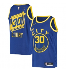 Men's Golden State Warriors #30 Stephen Curry Nike Royal Hardwood Classics 2020-21 Swingman Jersey