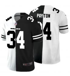 Men's Chicago Bears #34 Walter Payton Black White Limited Split Fashion Football Jersey