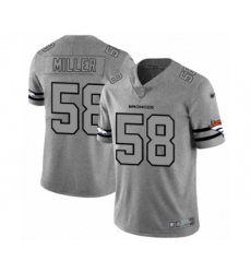 Men's Denver Broncos #58 Von Miller Gray Team Logo Gridiron Limited Football Jersey
