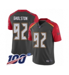 Men's Tampa Bay Buccaneers #92 William Gholston Limited Gray Inverted Legend 100th Season Football Jersey