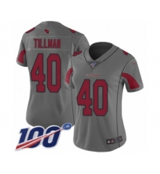 Women's Arizona Cardinals #40 Pat Tillman Limited Silver Inverted Legend 100th Season Football Jersey