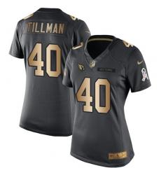 Women's Nike Arizona Cardinals #40 Pat Tillman Limited Black/Gold Salute to Service NFL Jersey