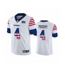 Men's Dallas Cowboys #4 Dak Prescott White Independence Day Limited Football Jersey