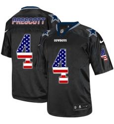 Men's Nike Dallas Cowboys #4 Dak Prescott Elite Black USA Flag Fashion NFL Jersey