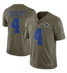 Men's Nike Dallas Cowboys #4 Dak Prescott Limited Olive 2017 Salute to Service NFL Jersey