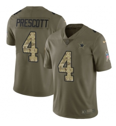 Youth Nike Dallas Cowboys #4 Dak Prescott Limited Olive/Camo 2017 Salute to Service NFL Jersey