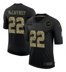 Men's Carolina Panthers #22 Christian McCaffrey Camo 2020 Salute To Service Limited Jersey