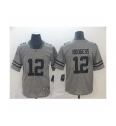 Men's Green Bay Packers #12 Aaron Rodgers Limited Gray Rush Gridiron Football Jersey