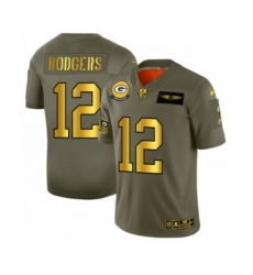 Men's Green Bay Packers #12 Aaron Rodgers Limited Olive Gold 2019 Salute to Service Football Jersey