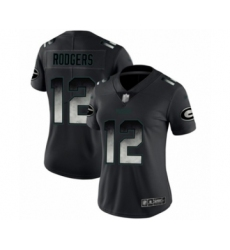 Women's Green Bay Packers #12 Aaron Rodgers Limited Black Smoke Fashion Limited Football Jersey