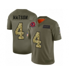 Men's Houston Texans #4 Deshaun Watson 2019 Olive Camo Salute to Service Limited Jersey