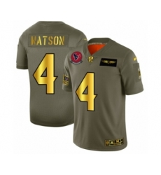 Men's Houston Texans #4 Deshaun Watson Limited Olive Gold 2019 Salute to Service Football Jersey